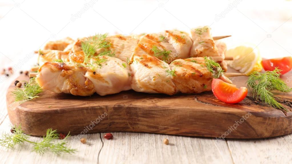 Grilled chicken skewers