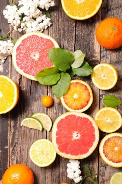 assorted citrus fruits on wooden background