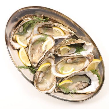 fresh oyster with lemon and dill