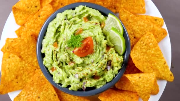 guacamole with tortilla chips- top view