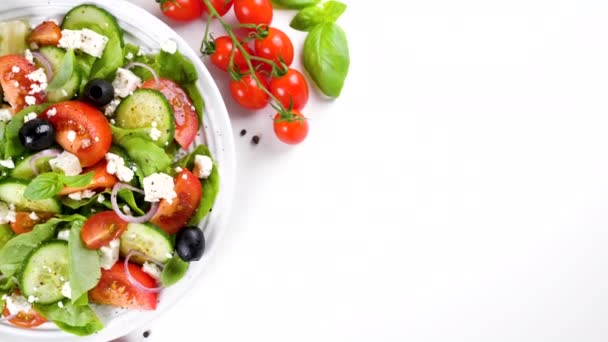 greek salad with tomato, cucumber, olive and feta cheese