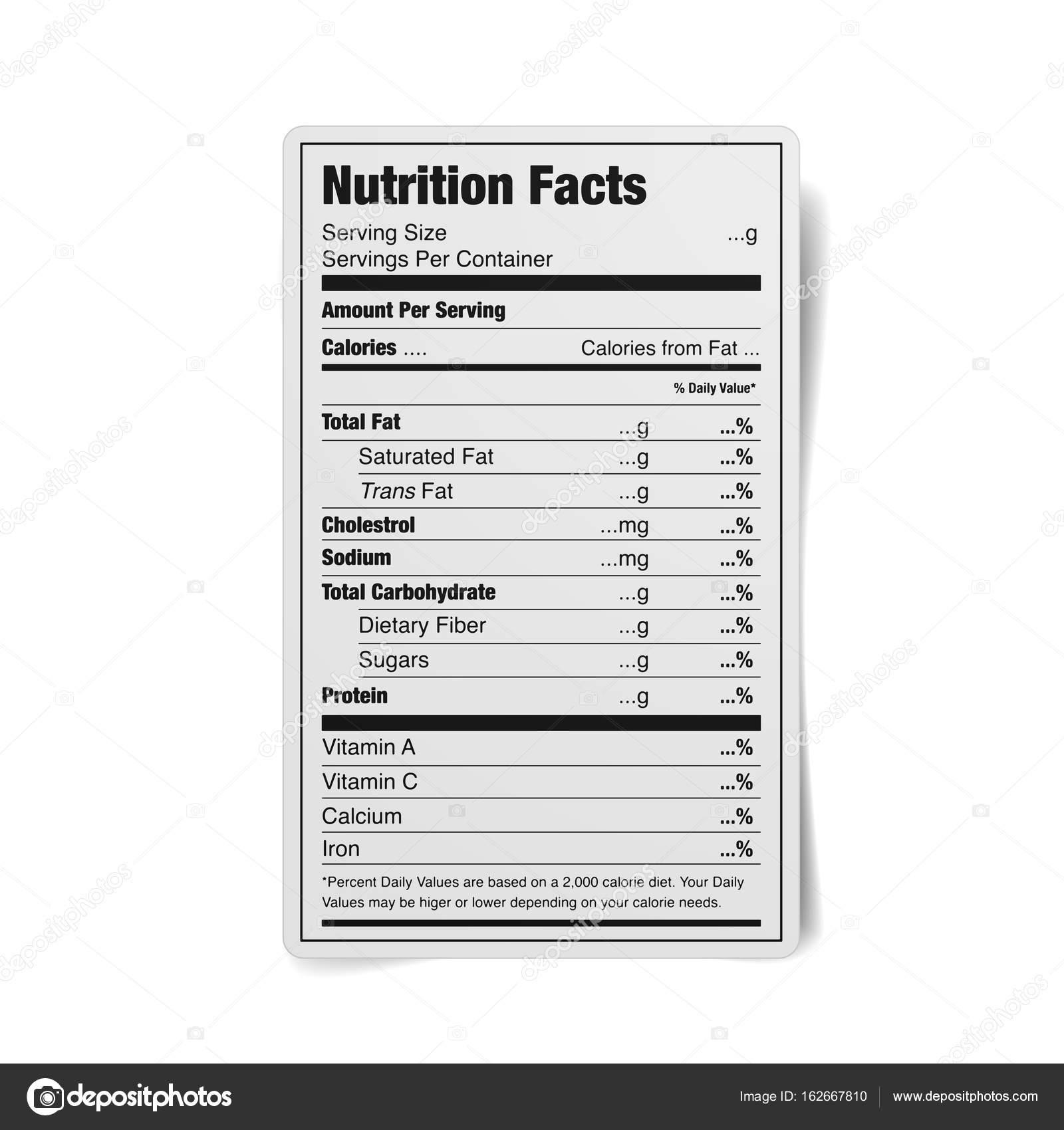 栄養物の事実のラベル — ストッ...