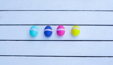 Easter eggs painted in vibrant colors
