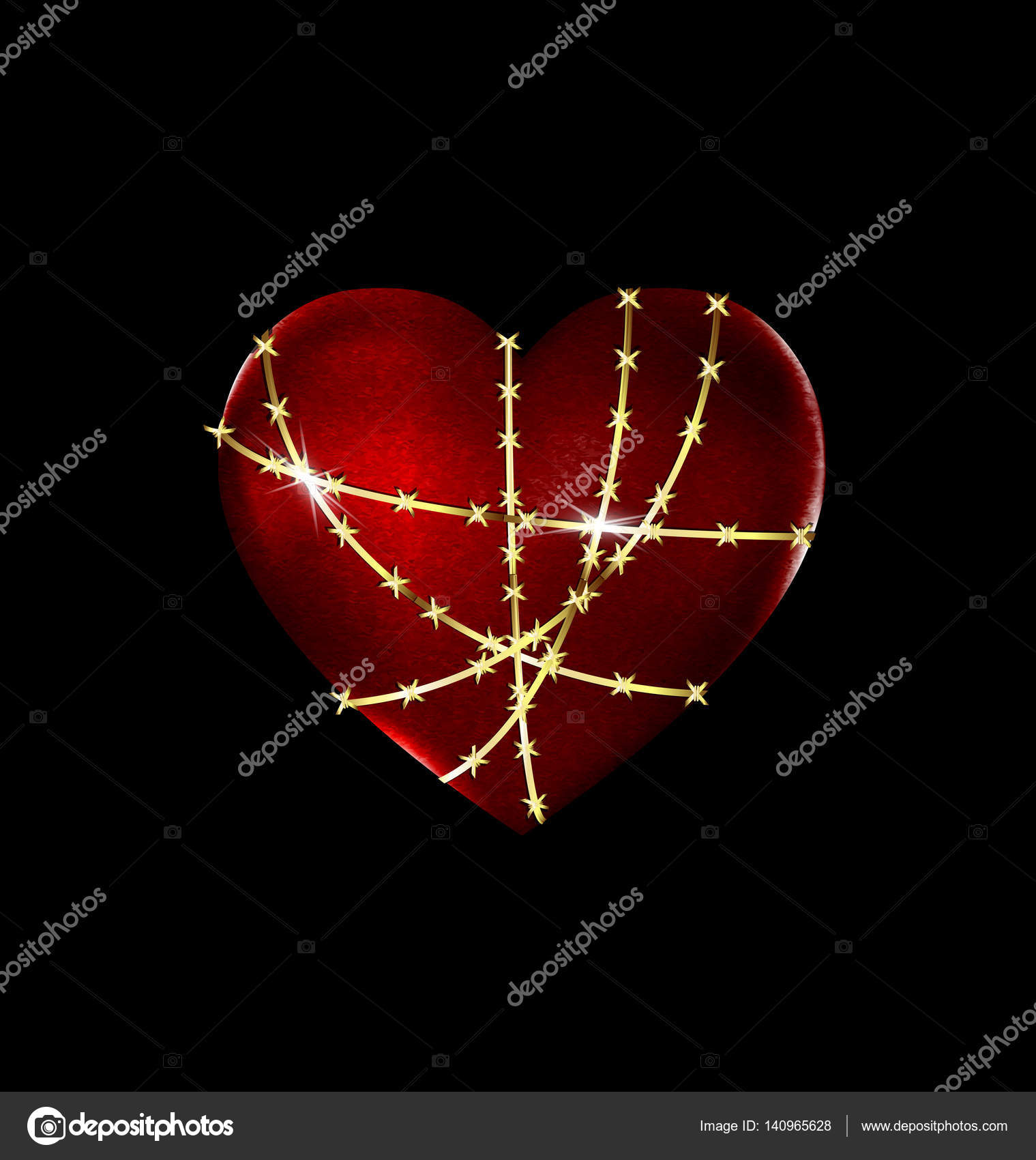 Locked Solid Heart Stock Vector Dankalilly 140965628