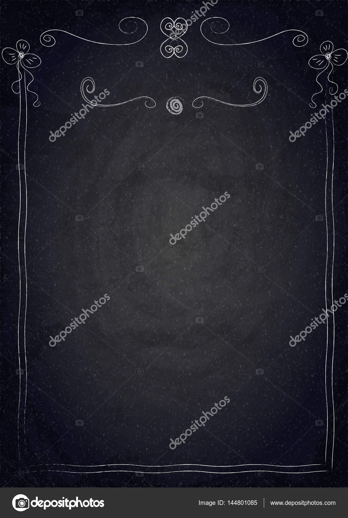 Empty Border On Blackboard Chalkboard Background Stock Vector