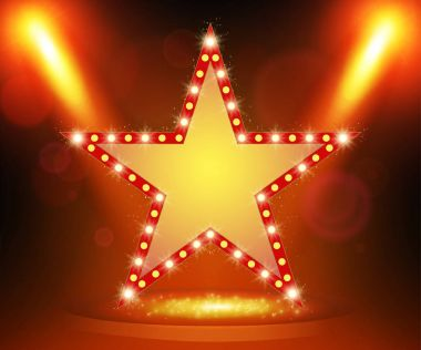 Retro star banner on stage with spotlight effect background