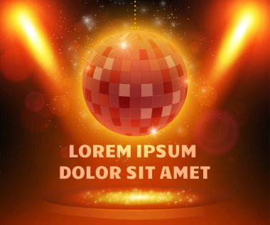 Disco ball on stage with spotlight effect background