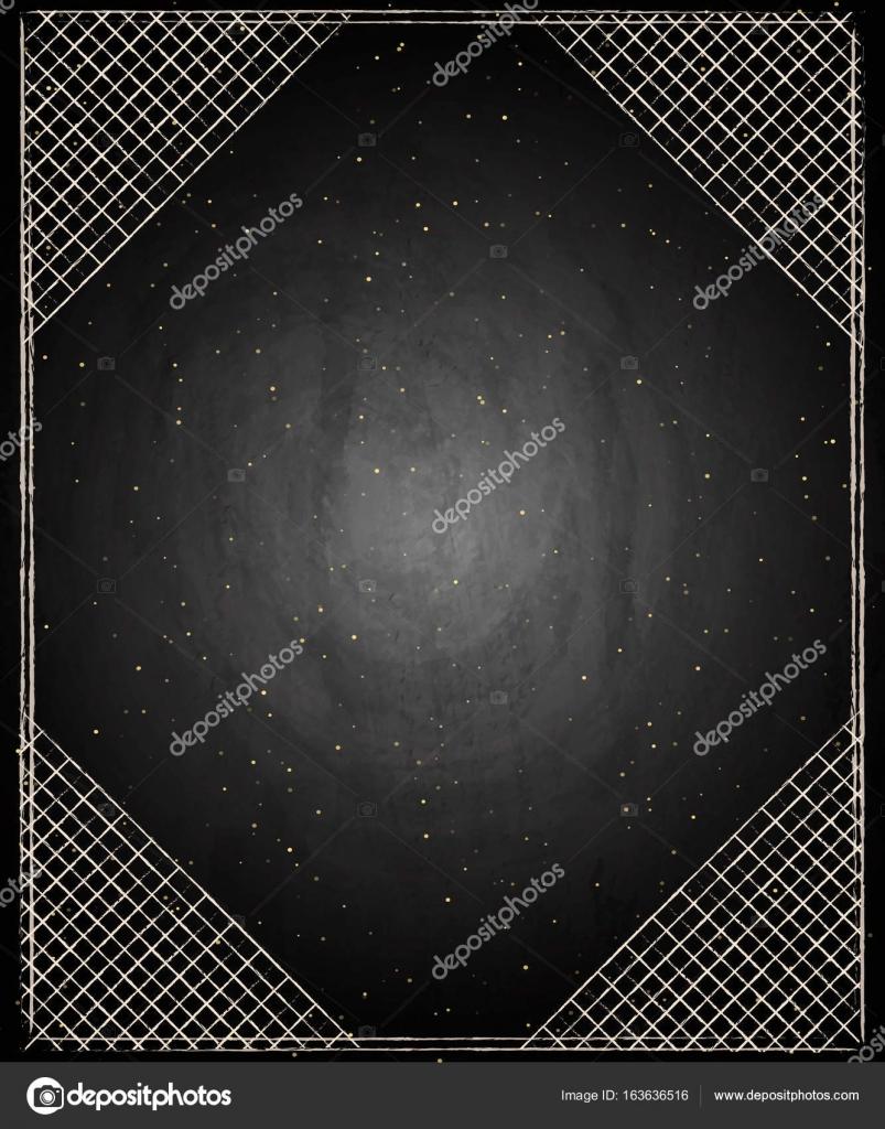 角の黒板黒板背景に空の境界線 \u2014 ストックベクタ