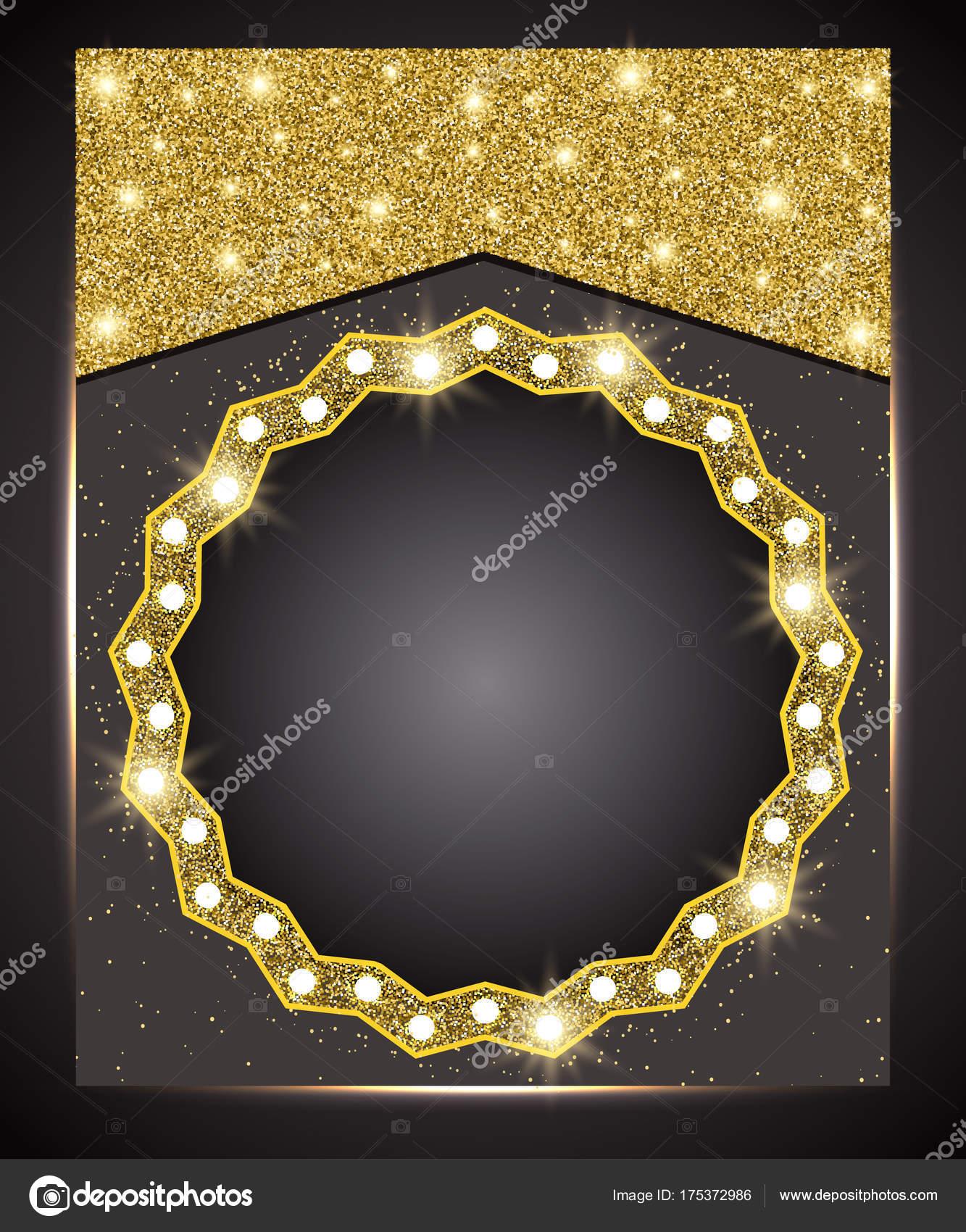 Plantilla para banner de oferta negocio saludo. Oro brillante marco ...