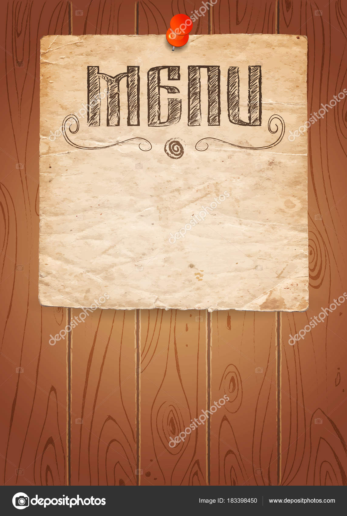 Menu of restaurant on old paper and wooden background