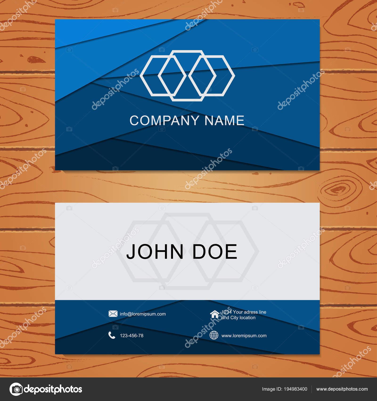 Blauen Geometrischen Visitenkarte Design Vorlage Auf Holz