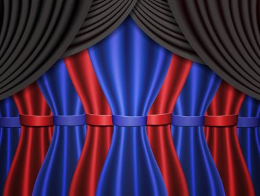 Background with blue, black and red curtain. Vector illustration
