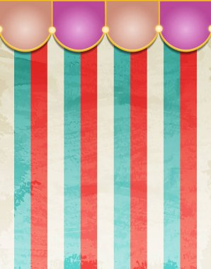 Circus striped background with vintage tent. Design for presentation, concert, show. Vector illustration