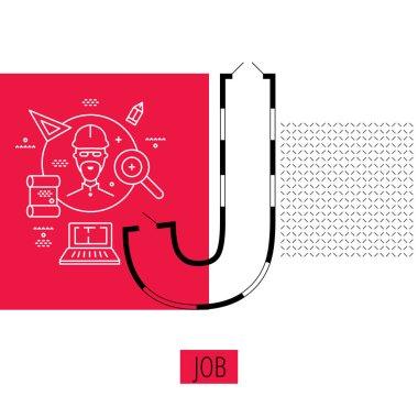 letter J, architectural plan, vector conceptual type. Thin line