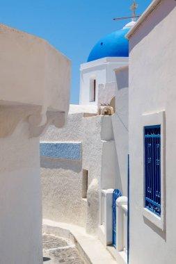 Pyrgos city view, Typical white santorini architecture. Santorini island view. Cyclades, Greece.