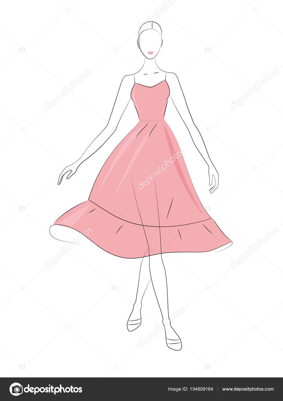 Vector Silueta Baile Dama Vestido Verano Rosa Luz — Archivo Imágenes ...