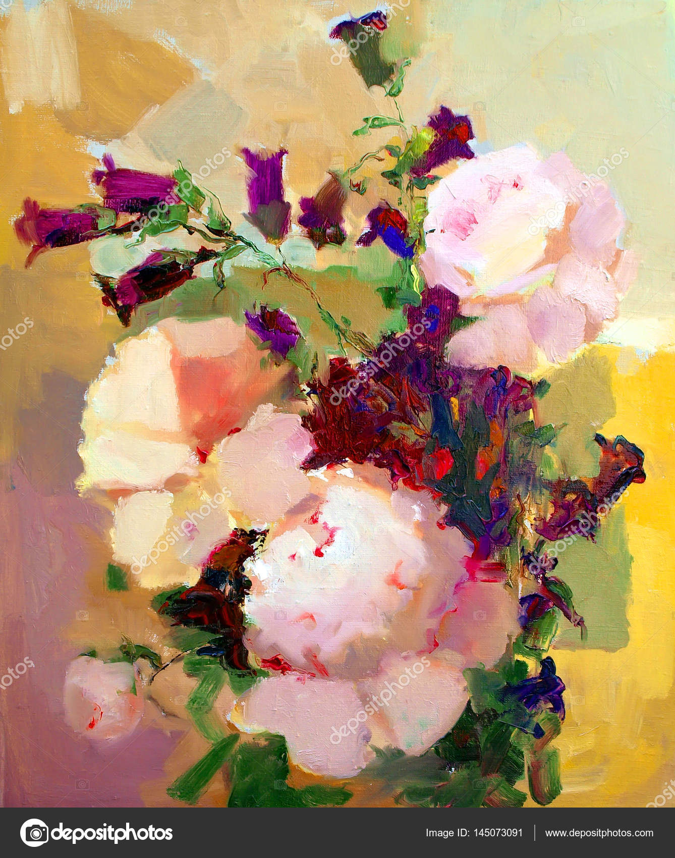 Oil Painting Of The Beautiful Flowers Stock Photo Denyskuvaiev