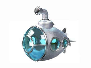cartoon metallic submarine