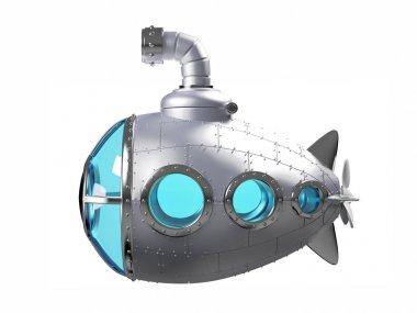 cartoon metallic submarine side