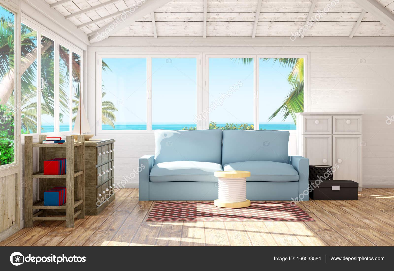strand huis interieur stockfoto