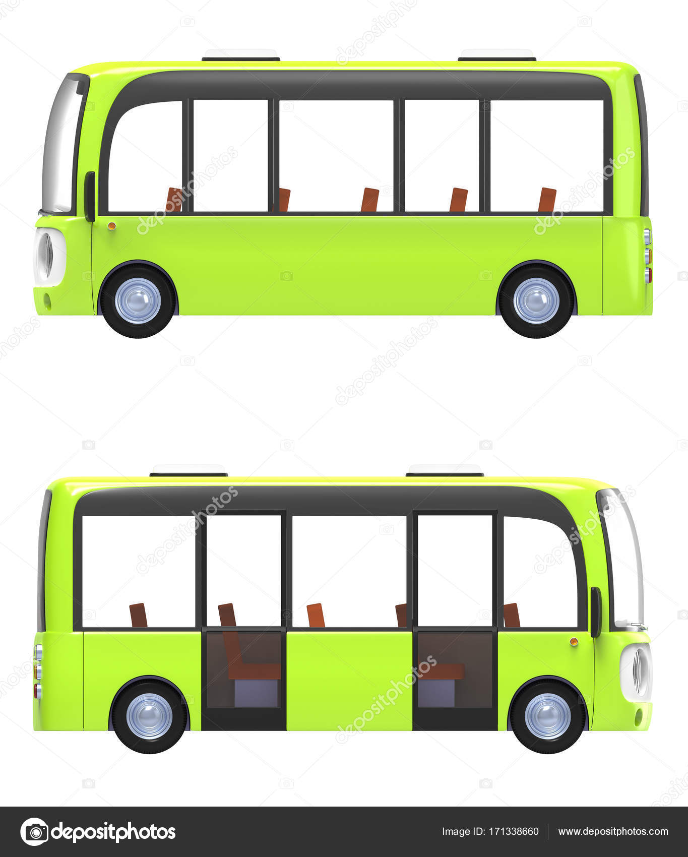 Moderni Kreslene Autobus Zelena Strana Stock Fotografie