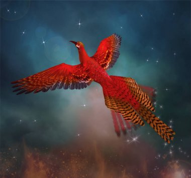 Phoenix flies through the sky