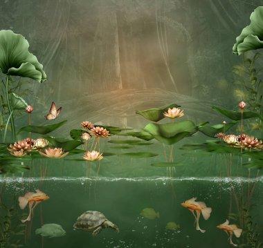Green pond background