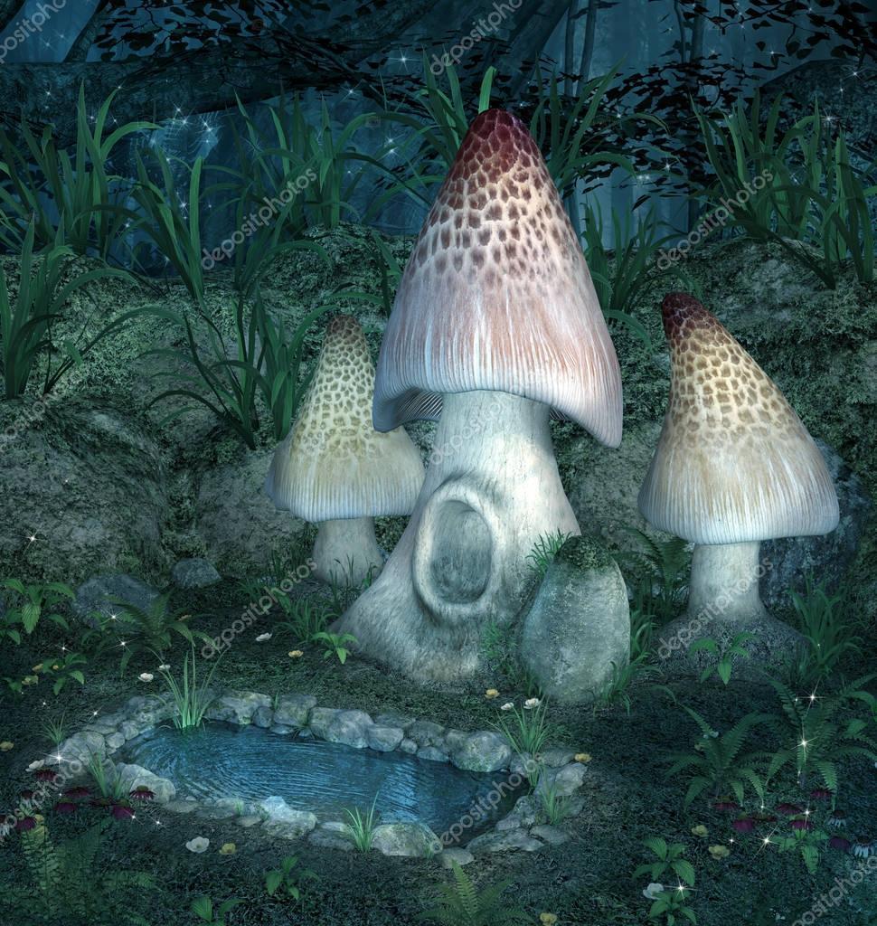 Fantasy enchanted mushrooms near a little lake
