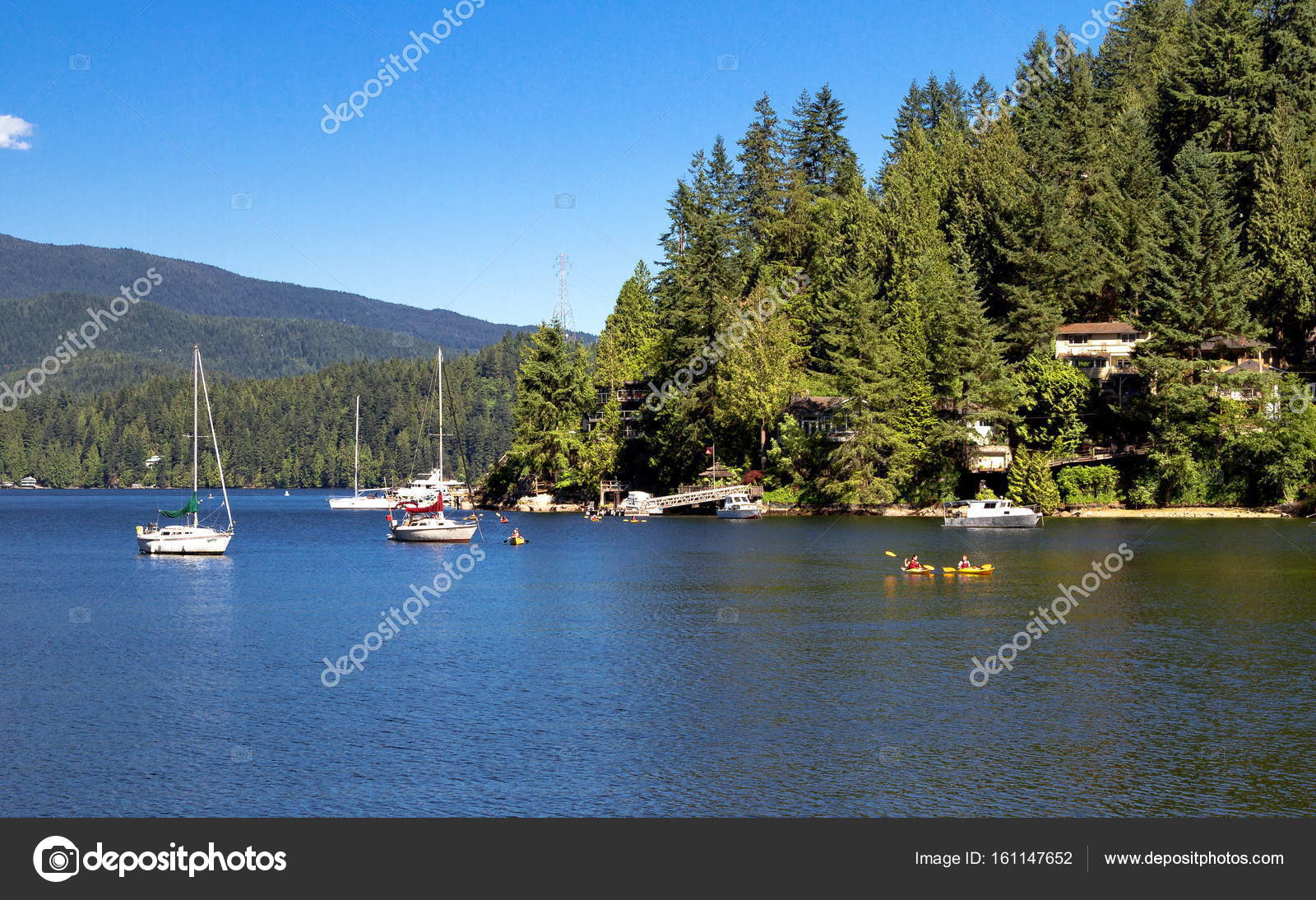 The Village On Slope Of Deep Cove Stock Photo