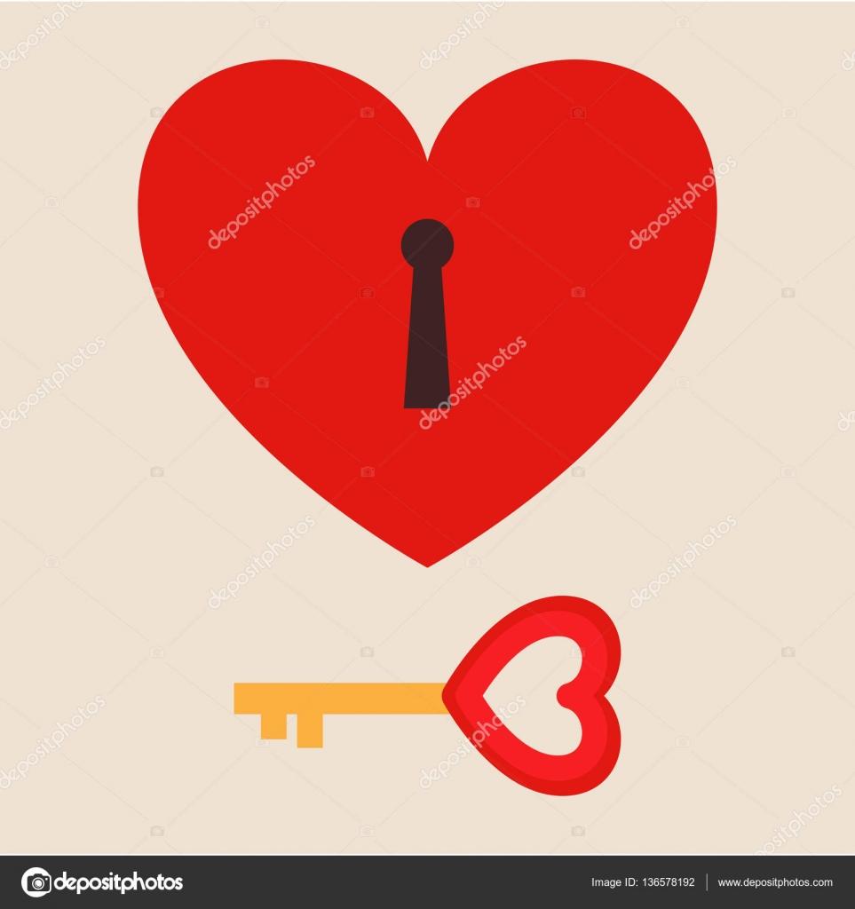 Locked Heart With Key Romance Design Concept Vector Illustration