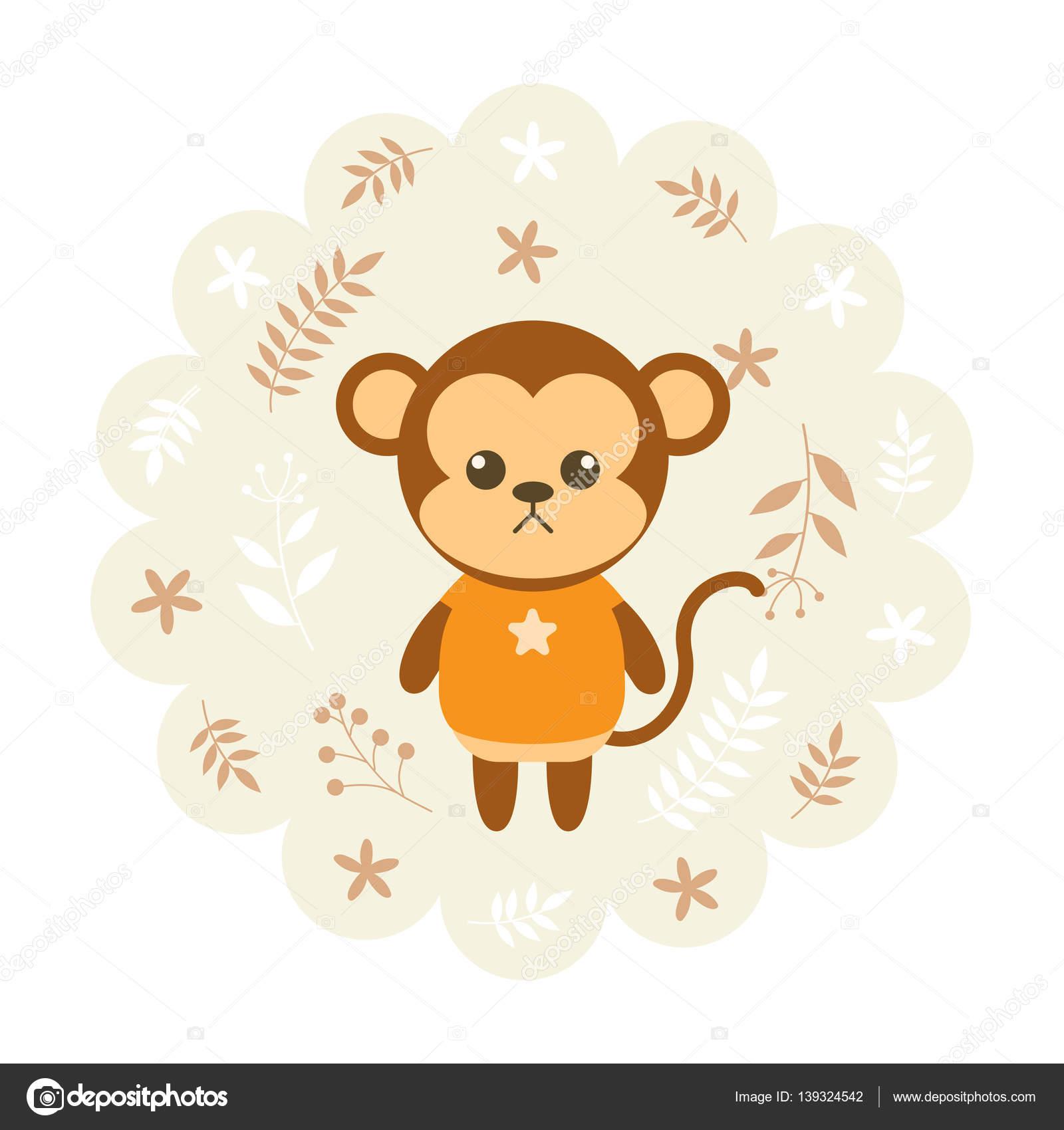 猿。ベクトル イラスト漫画、マスコット。面白い、素敵なデザイン。花の