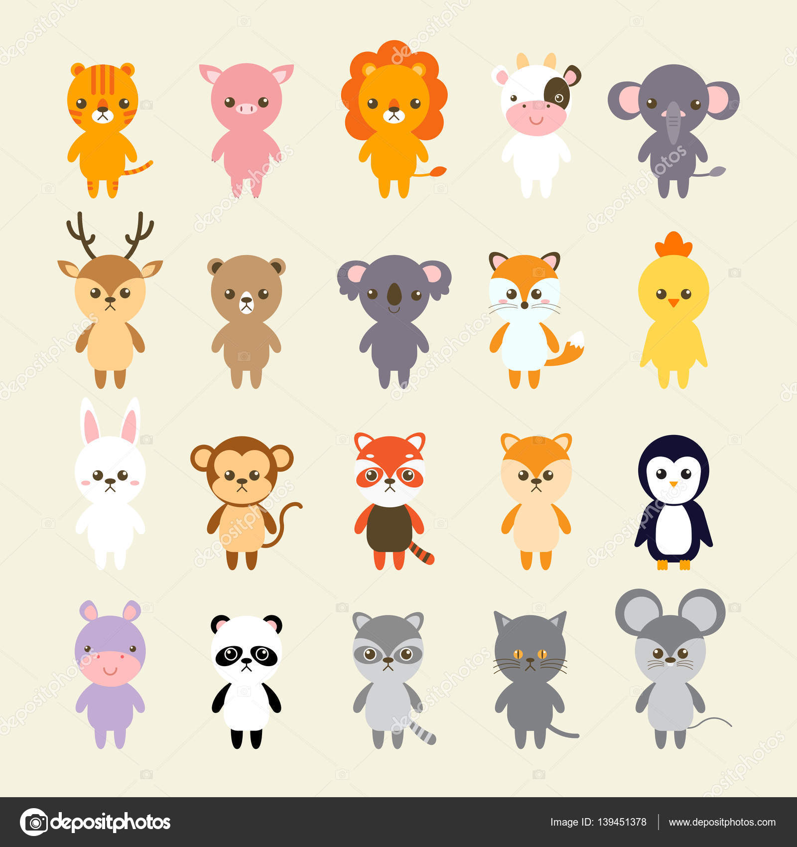 set of animals cartoon vector illustration a collection of small