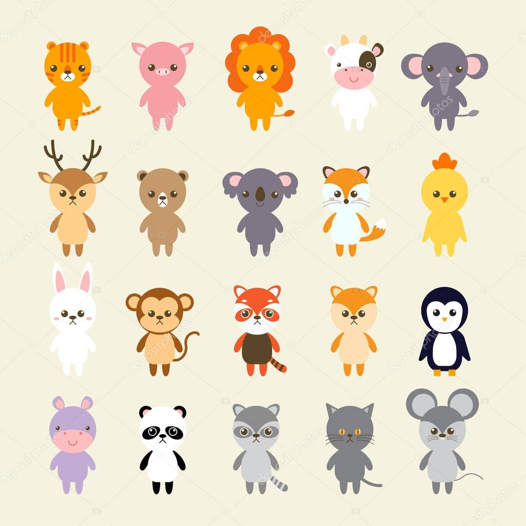 Set of animals cartoon vector illustration. A collection of small lovely and funny animals logo, icons or mascots. Little animals in the children's book character style.