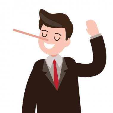 lies , cheat , hoax businessman character. vector illustration.
