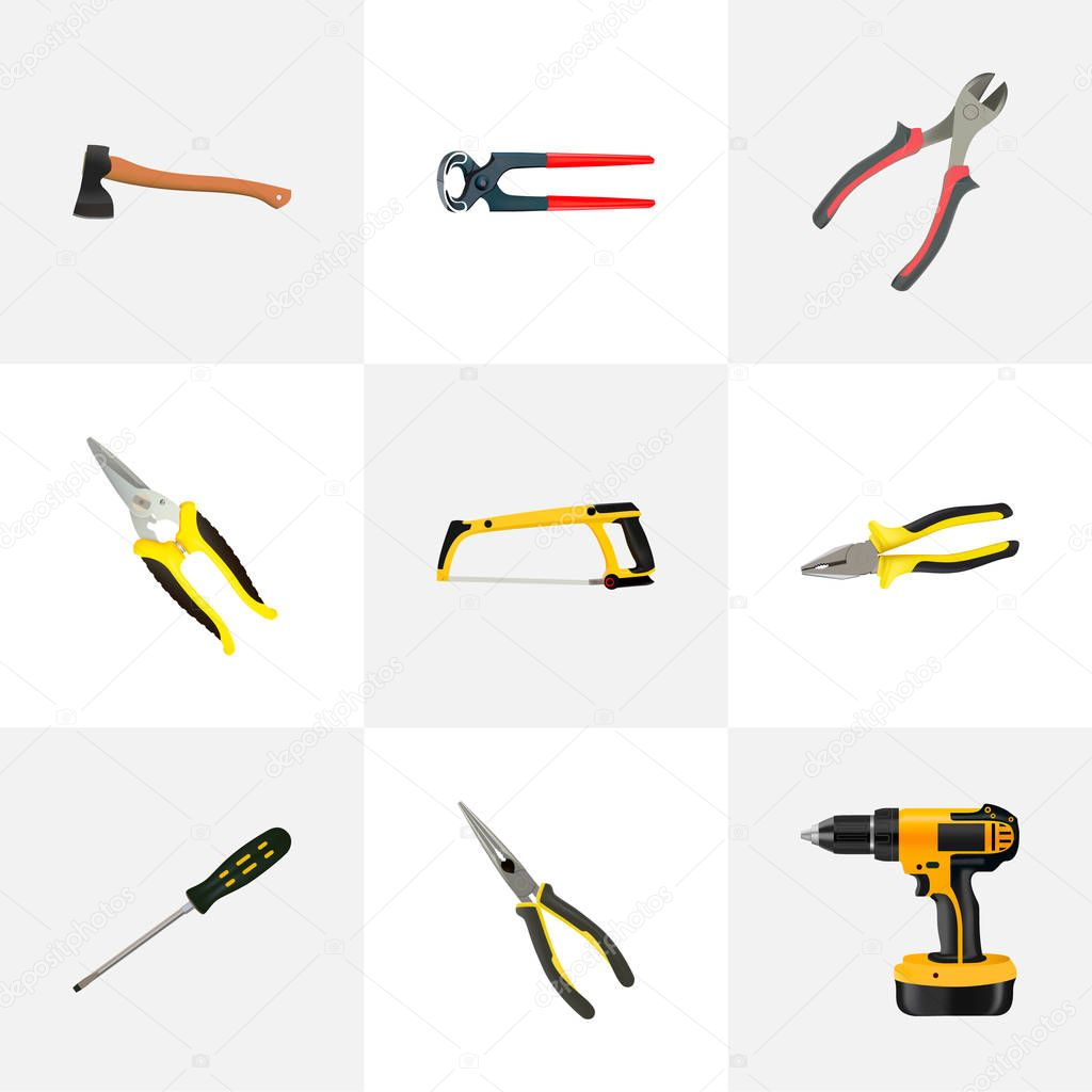 Realistic Pliers, Nippers, Electric Screwdriver And Other Vector Elements. Set Of Construction Realistic Symbols Also Includes Saw, Forceps, Screwdriver Objects.