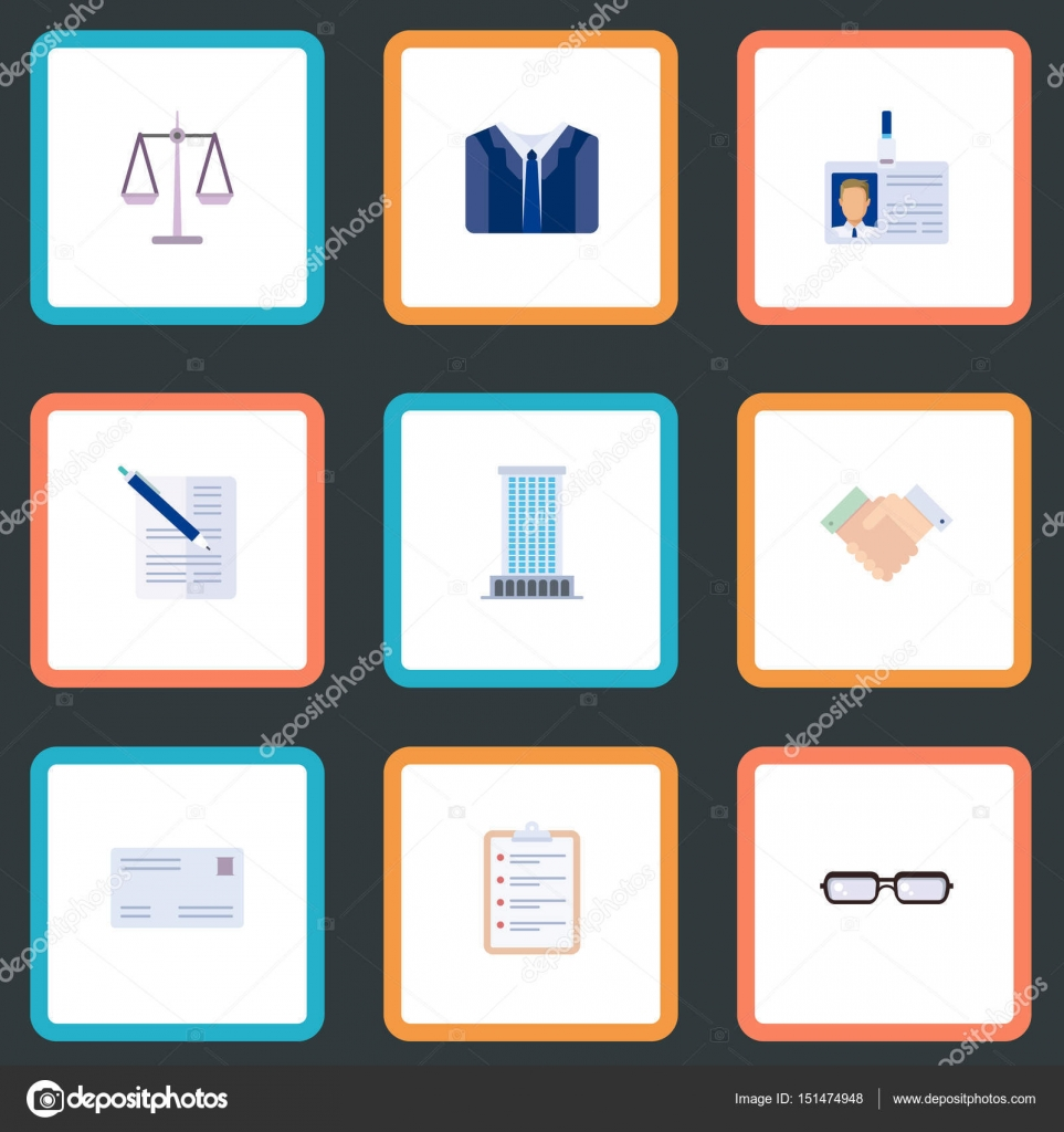 flat task list libra office and other vector elements set of business flat