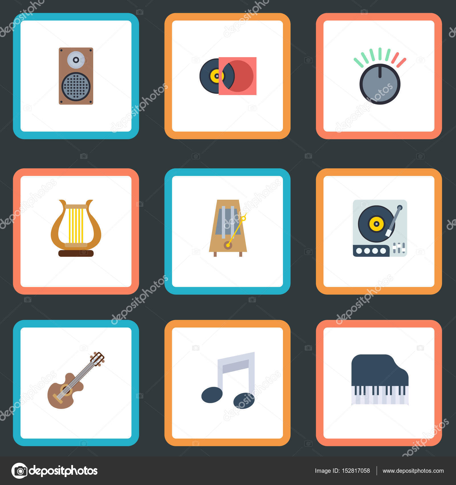 Flat Octave Keyboard Acoustic Knob And Other Vector Elements Set