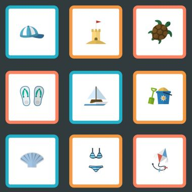 Flat Slippers, Sailboard, Hat And Other Vector Elements. Set Of Beach Flat Symbols Also Includes Yacht, Conch, Underwear Objects.
