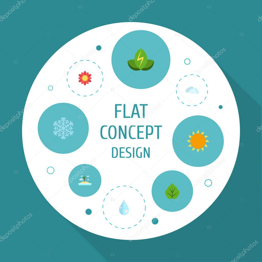 Flat Icons Water, Sunshine, Isle Beach And Other Vector Elements. Set Of Environment Flat Icons Symbols Also Includes Flower, Water, Blob Objects.