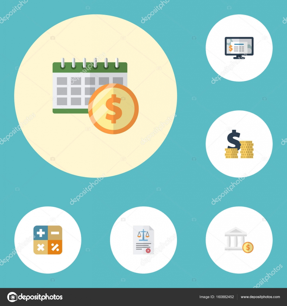 Flat Icons Deadline Accounting System Coins Pile And Other Vector Elements Set Of