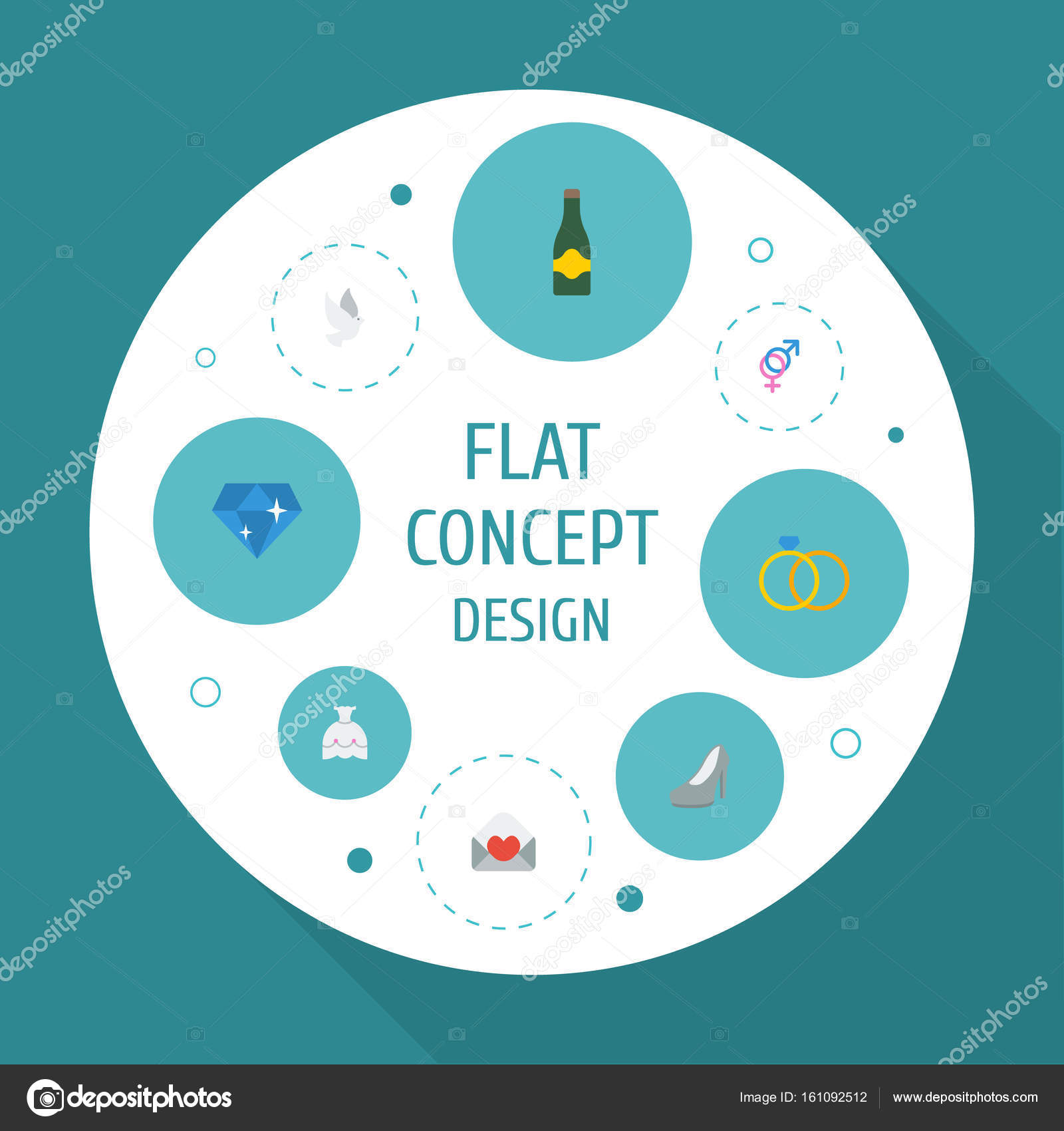 flat icons sandal fizz pigeon vector elements set of marriage