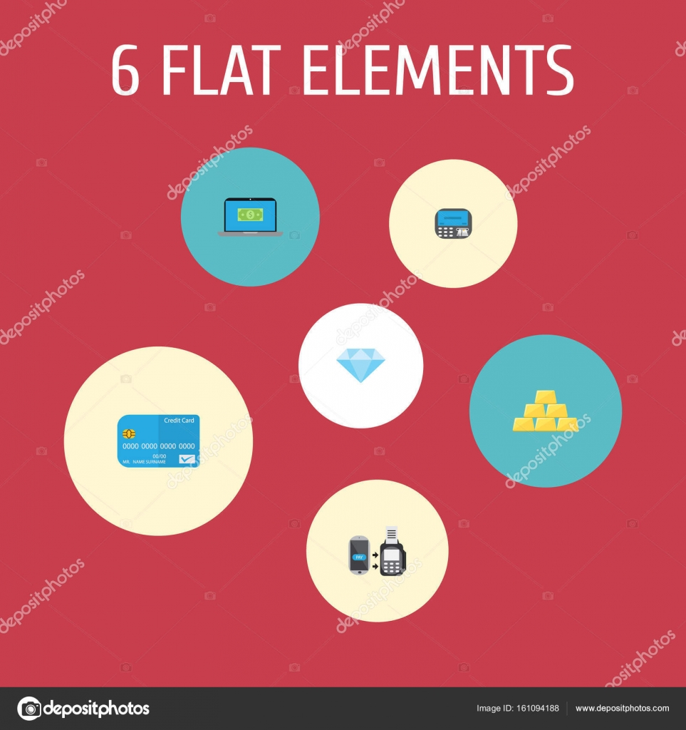 Flat Icons Payment Computer Remote Paying And Other Vector