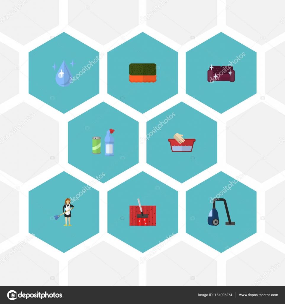 Flache Symbole Wisp, Vektor-Kleidung waschen, Sofa und andere ...