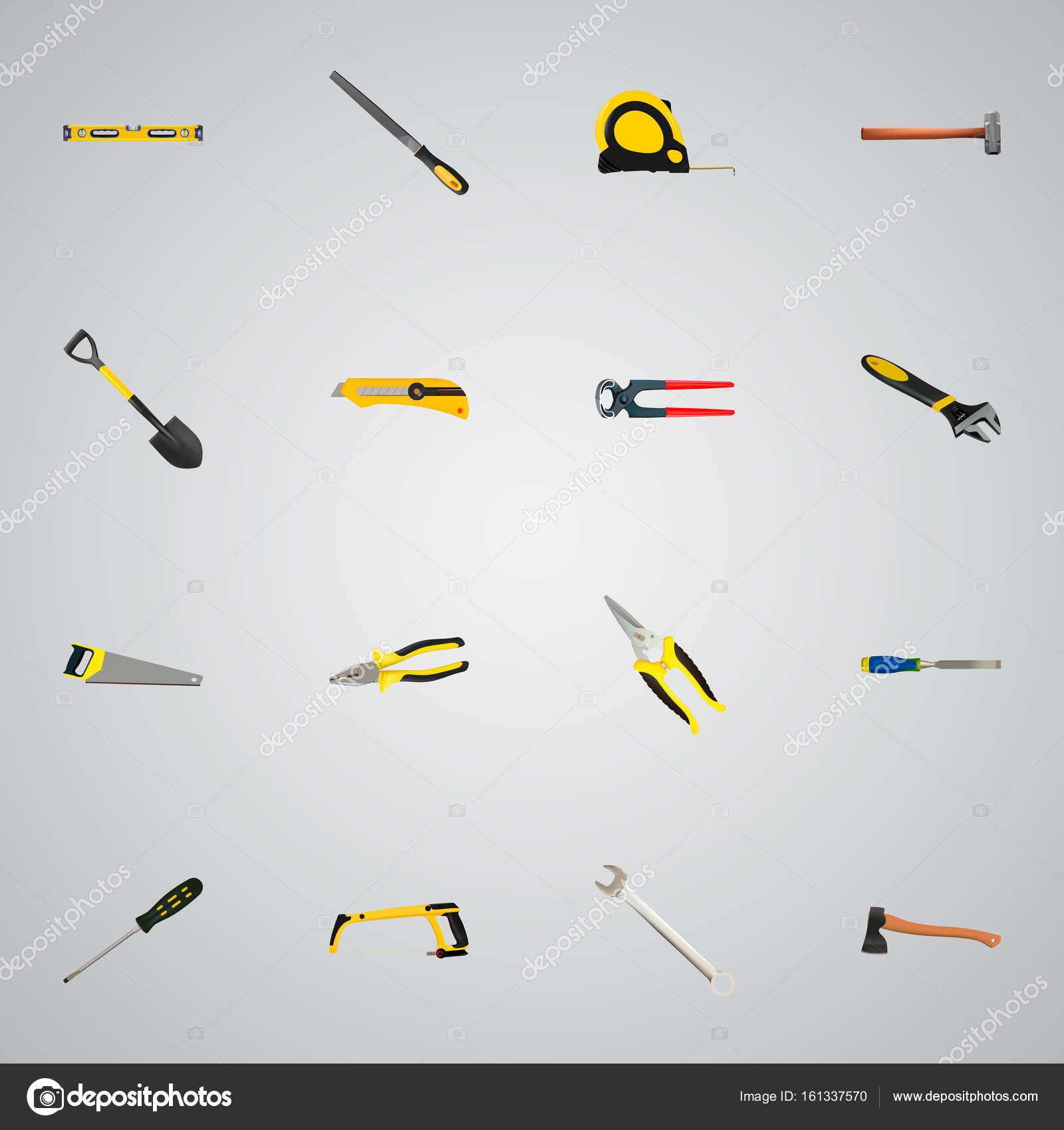 realistische briefpapier messer, schraubenschlüssel, säge und