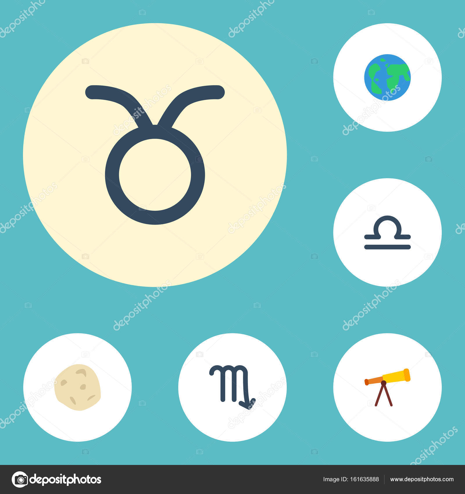 Flat icons bull scales zodiac sign and other vector elements flat icons bull scales zodiac sign and other vector elements set of astrology biocorpaavc