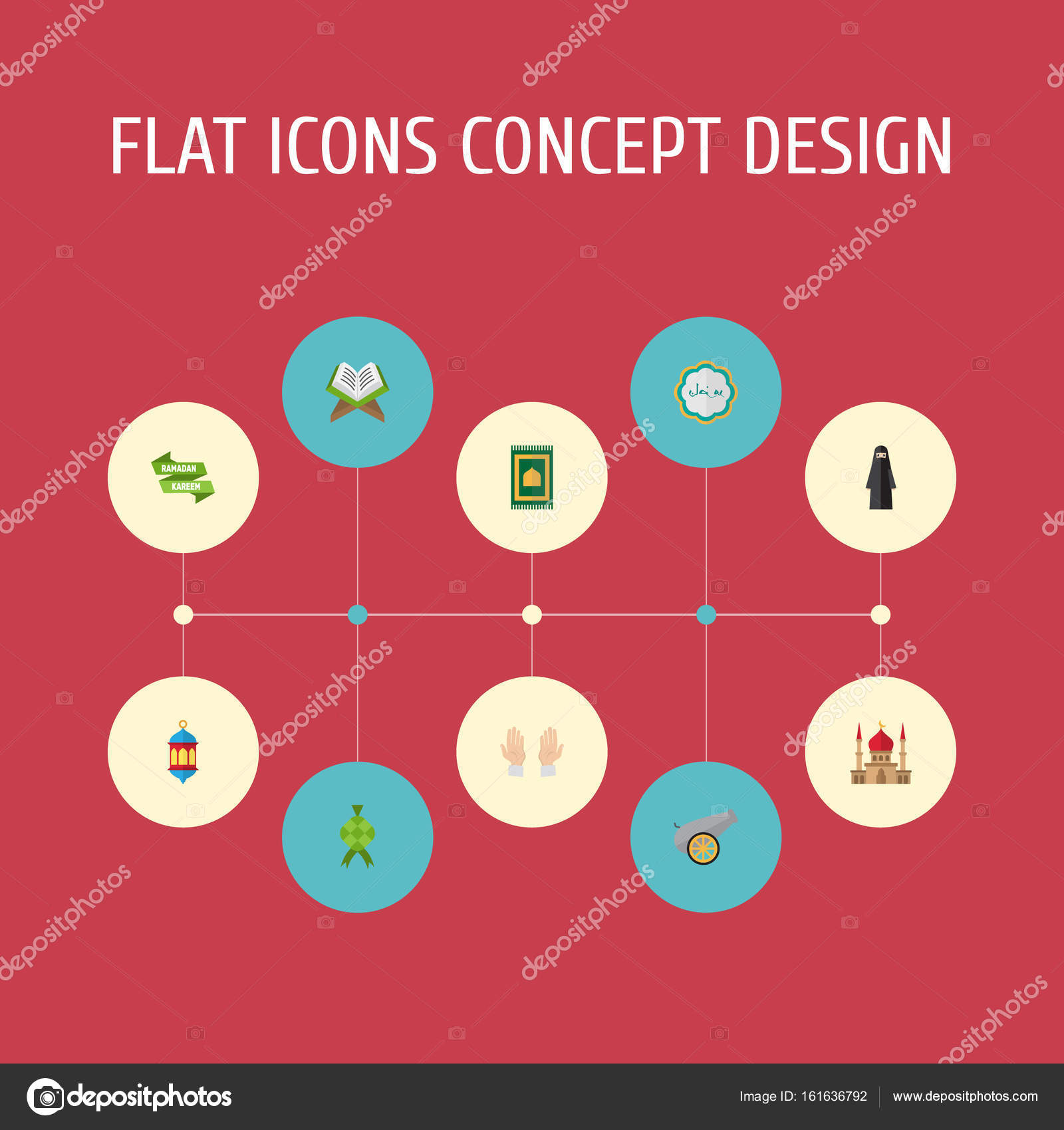 Flat Icons Muslim Woman Decorative Malay And Other Vector Elements