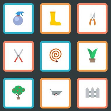Flat Icons Pruner, Garden Hose, Spray Bottle And Other Vector Elements. Set Of Horticulture Flat Icons Symbols Also Includes Tree, Hosepipe, Hose Objects.