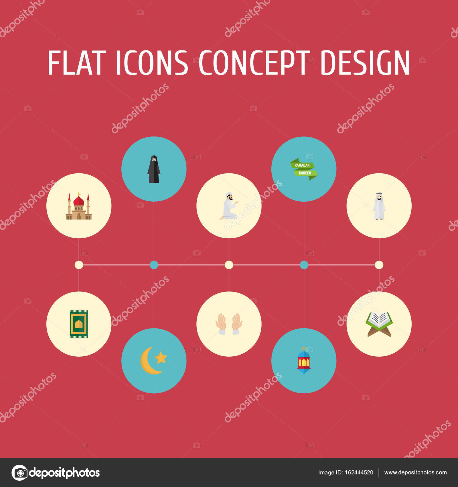 Flat Icons Praying Man Islamic Lamp Muslim Woman And Other Vector