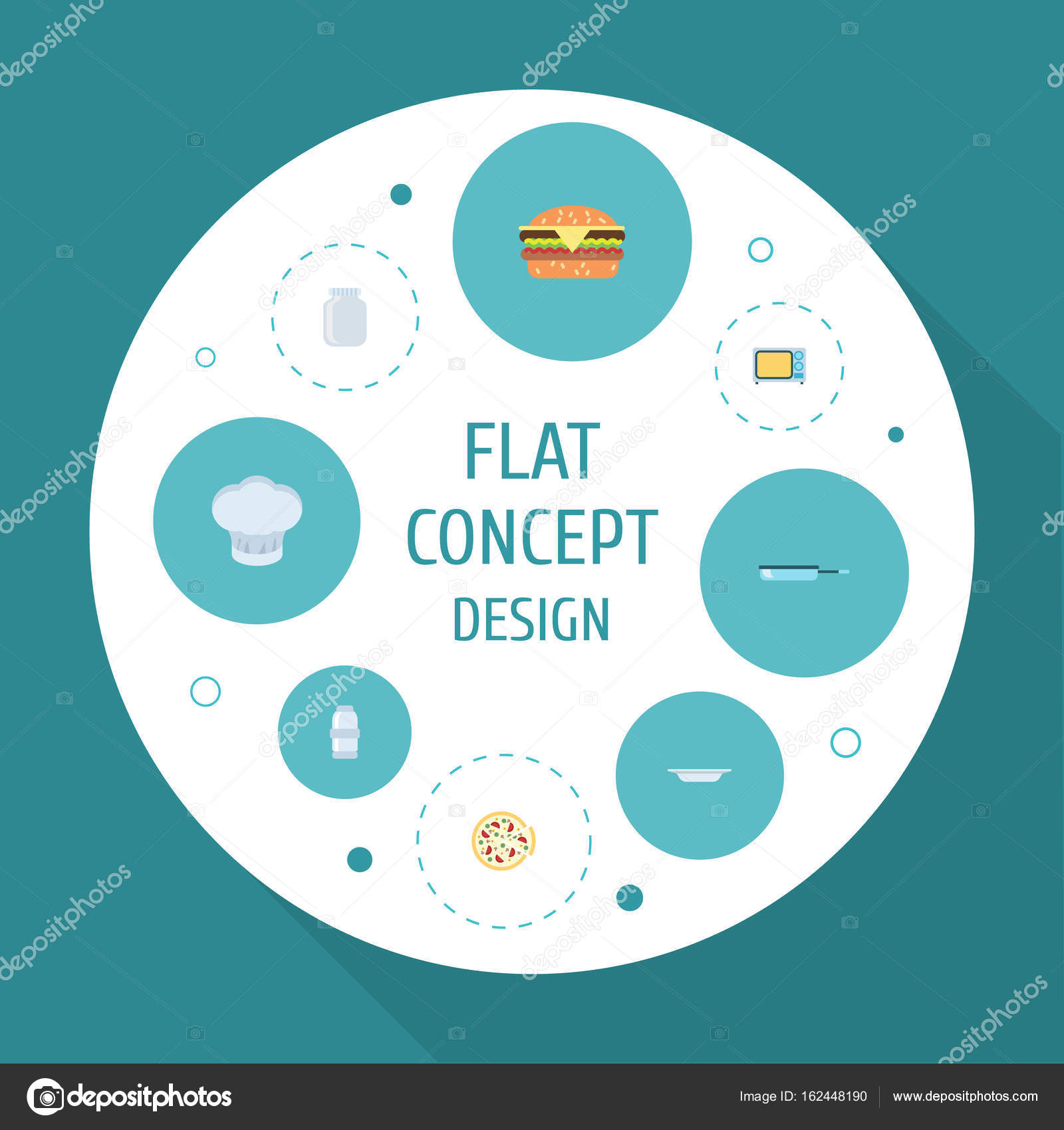 Flat Icons Dish, Pepperoni, Spice And Other Vector Elements. Set Of ...