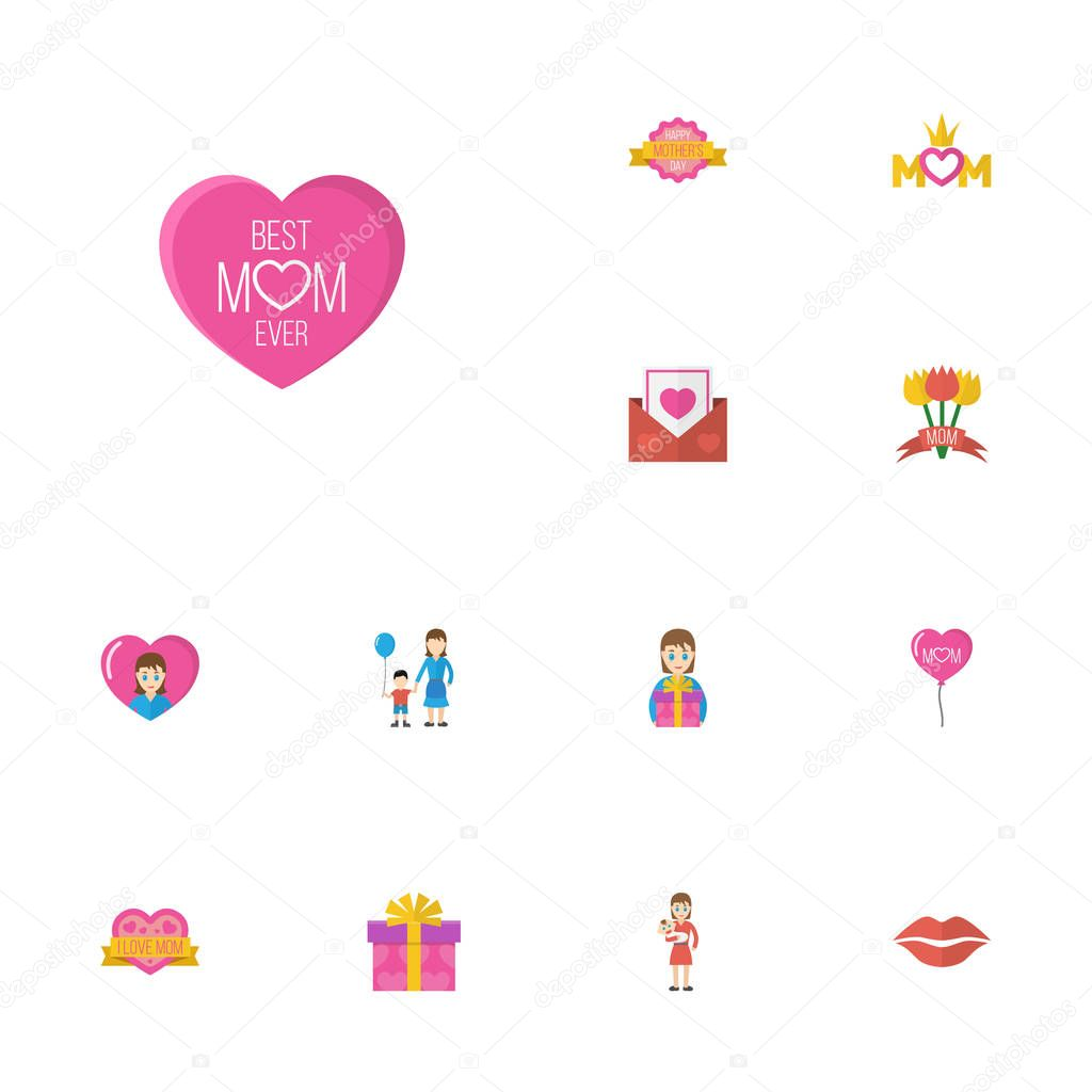Happy Mothers Day Flat Icon Layout Design With Kiss, Sticker And Son Symbols. Lovely Mom Beautiful Feminine Design For Social, Web And Print.